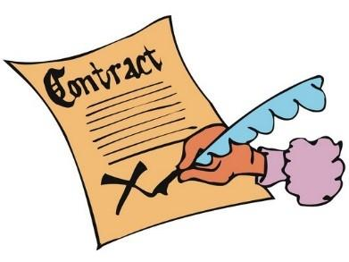 Graphic shows paper contract and fountain pen