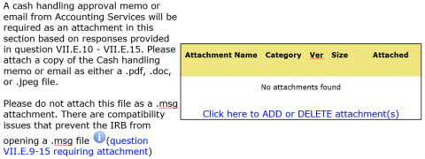 HawkIRB attachment for cash handling request