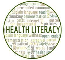 Health literacy word cloud including wellness plain language caregiver communication