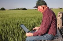 Farmer reviewing laptop with grain field in the background