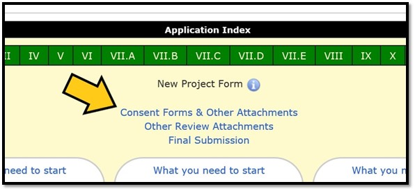 Image with an arrow pointing to the Consent Forms and Other Attachments link on the Application Index of HawkIRB.