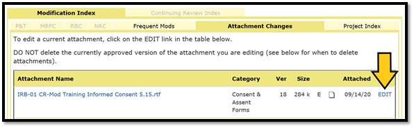 Image of the Attachment Changes tab on the Modification Index page with an arrow pointing to the EDIT link.