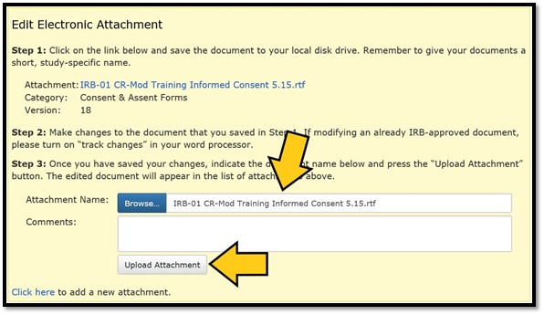 Image of the Edit Electronic Attachment box with arrows pointing to the filename of the revised attachment and the Upload Attachment button.